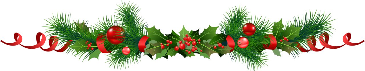 Transparent_Christmas_Pine_Garland_with_Mistletoe_Clipart